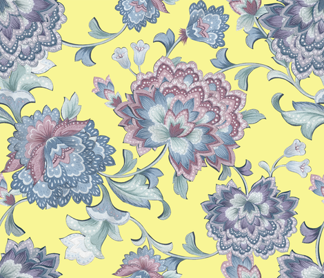 Chintz  yellow fabric by chicca_besso on Spoonflower - custom fabric