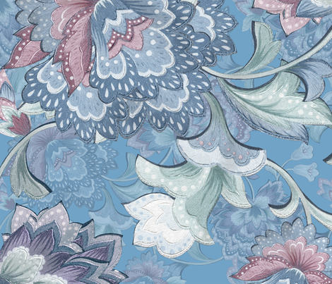 Chintz  azurB fabric by chicca_besso on Spoonflower - custom fabric