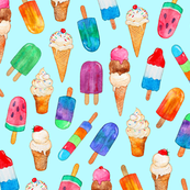 Watercolor Summer Ice Creams on Light Blue - custom small version