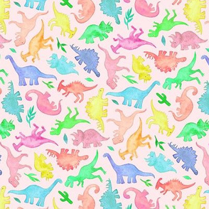 Ditsy Dinos in Summer Pop Colors on Blush Pink - small