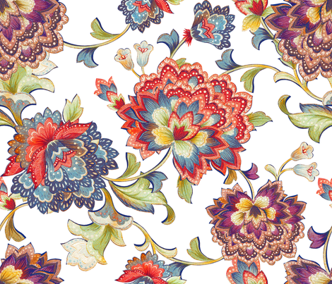 Vintage Chintz white fabric by chicca_besso on Spoonflower - custom fabric