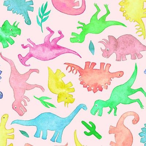 Ditsy Dinos in Summer Pop Colors on Blush Pink - large
