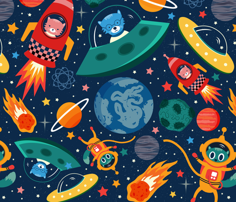 cats-in-space fabric by grace_andersson on Spoonflower - custom fabric
