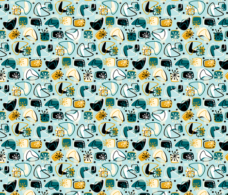 Retro Boomerang Revamp Mod Blue fabric by hollybender on Spoonflower - custom fabric