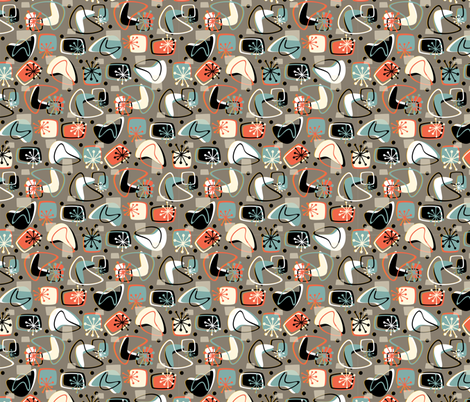 Retro Boomerang Revamp Mod Brown fabric by hollybender on Spoonflower - custom fabric