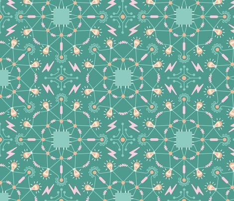 Technological mandala fabric by boadala on Spoonflower - custom fabric