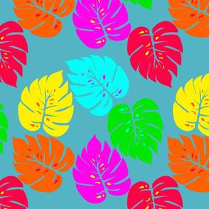 Neon Monstera Hawaiian Tropical Leaves