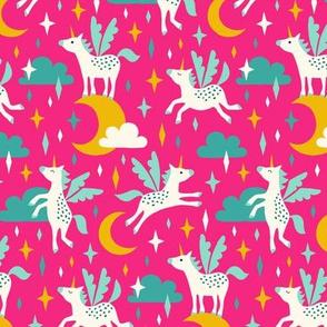 Unicorns in the sky on pink (medium)
