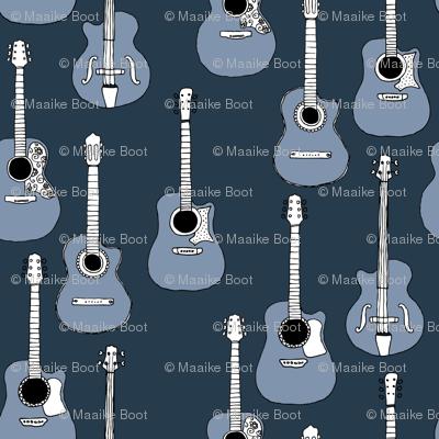 Little rockstar guitars and bass guitar illustration musical instrument music pattern gender neutral blue winter