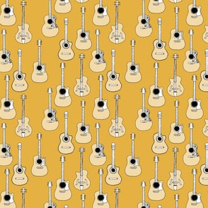 Little rockstar guitars and bass guitar illustration musical instrument music pattern gender neutral yellow