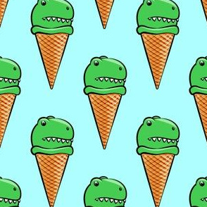 trex icecream cones - dinosaur icecream - blue