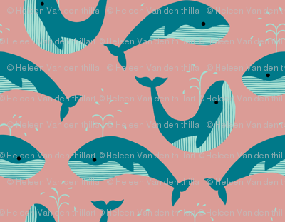 Whales on salmon pink