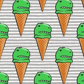 trex icecream cones - dinosaur icecream - grey  stripes