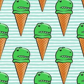 trex icecream cones - dinosaur icecream - aqua stripes