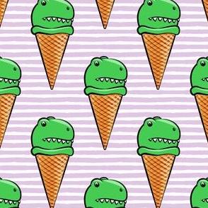 trex icecream cones - dinosaur icecream - purple stripes
