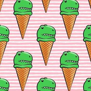 trex icecream cones - dinosaur icecream - pink stripes
