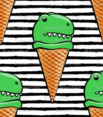 trex icecream cones - dinosaur icecream - black stripes