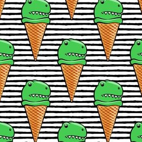 trex icecream cones - dinosaur icecream - black stripes