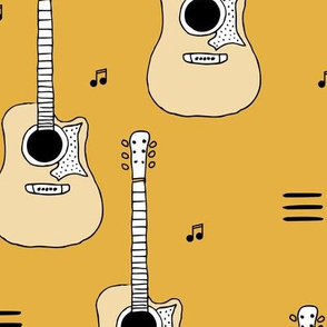 Little rockstar guitars and musical notes guitar illustration instrument music pattern yellow LARGE