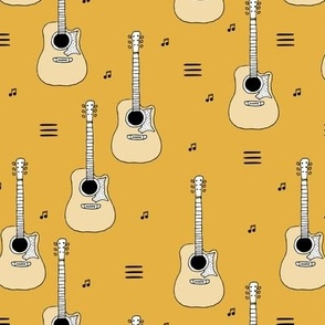 Little rockstar guitars and musical notes guitar illustration instrument music pattern yellow