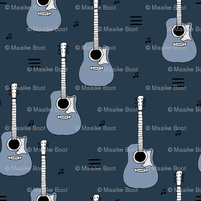 Little rockstar guitars and musical notes guitar illustration instrument music pattern boys winter blue