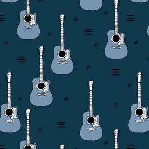 Little rockstar guitars and musical notes guitar illustration instrument music pattern boys winter blue