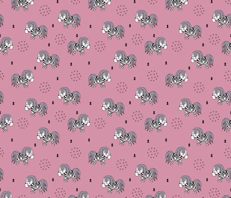 Sweet dreaming zebra illustration adorable kawaii pattern pink girls fabric by littlesmilemakers on Spoonflower - custom fabric