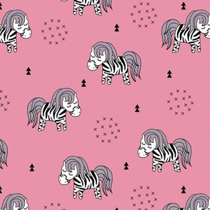 Sweet dreaming zebra illustration adorable kawaii pattern pink girls