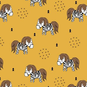 Sweet dreaming zebra illustration adorable kawaii pattern mustard yellow