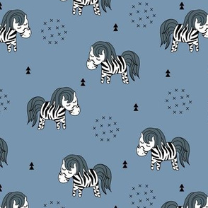 Sweet dreaming zebra illustration adorable kawaii pattern blue