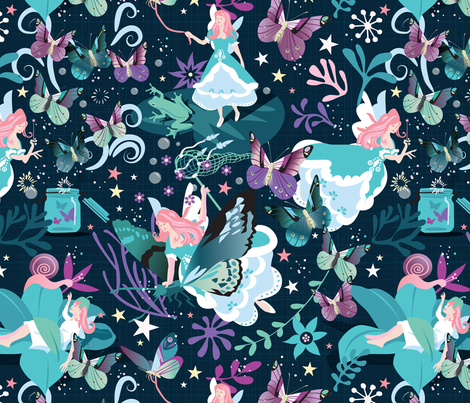 Butterfly princess fabric by camcreative on Spoonflower - custom fabric