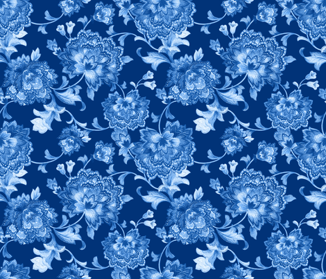 Blue Chintz150invert fabric by chicca_besso on Spoonflower - custom fabric