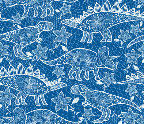 dinos lace fabric by y_me_it's_me on Spoonflower - custom fabric