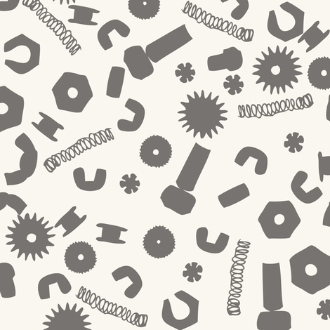 Nuts and Bolts - H white, Grey fabric by fernlesliestudio on Spoonflower - custom fabric