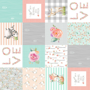 LOVE Baby Girl Quilt Top (rotated) - I Love You a Bushel and a Peck - Woodland Baby Girl Blanket Gray Mint Peach