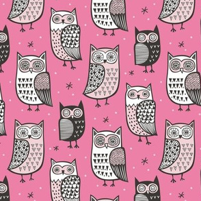 Owls Owl Woodland Fall Winter Black&White on Pink Smaller