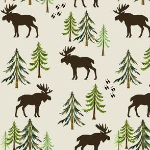 Forest Moose Tracks - Woodland Pine Trees - MEDIUM SCALE B