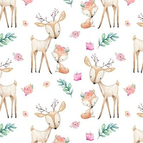 Sweet Deer & Fox - Pink Flowers Woodland Animals Baby Girl Nursery Bedding