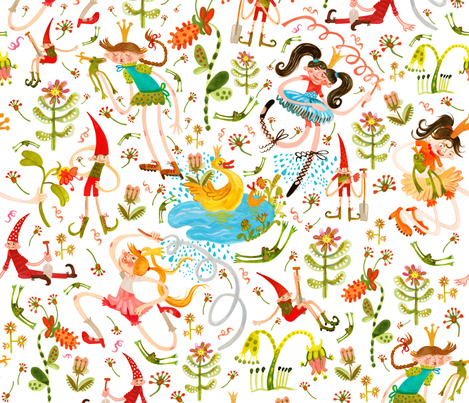 Princess, Frogs and lazy Dwarfs fabric by pikku_susi on Spoonflower - custom fabric