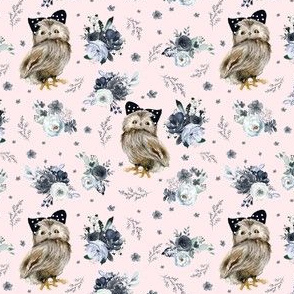 "4"" Black and White Owl - Blush"