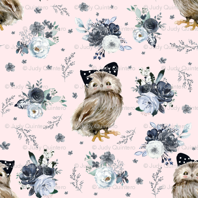 "8"" Black and White Owl - Blush"