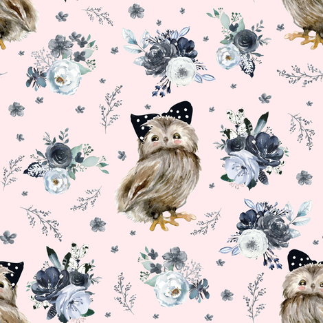 "8"" Black and White Owl - Blush fabric by shopcabin on Spoonflower - custom fabric"