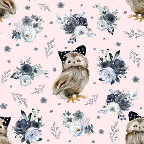 "21"" Black and White Owl - Blush"