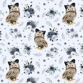 """4"""" Black and White Owl - Light Blue"""