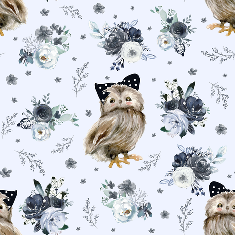 """8"""" Black and White Owl - Light Blue fabric by shopcabin on Spoonflower - custom fabric"""