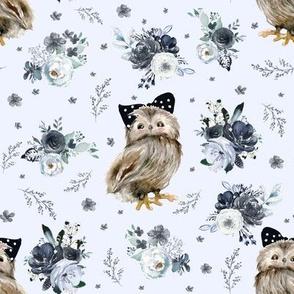"""8"""" Black and White Owl - Light Blue"""