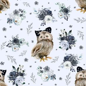 """21"""" Black and White Owl - Light Blue"""