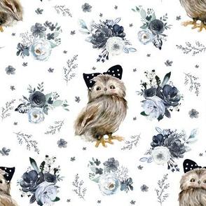 """8"""" Black and White Owl - White"""