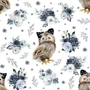 """21"""" Black and White Owl - White"""