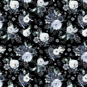 """4"""" Navy Black and White Florals - Black"""